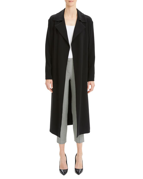 Image 1 of 1: Simple Open-Front Long Trench Coat
