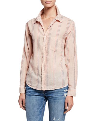 Basic Striped Button-Down Shirt