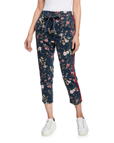 Floral-Print Belted Trouser Shorts