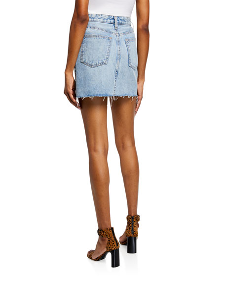 Anna Zip-Front Frayed Denim Mini Skirt