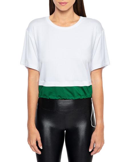 Bora Brisa Twofer Cropped Drawstring T-Shirt
