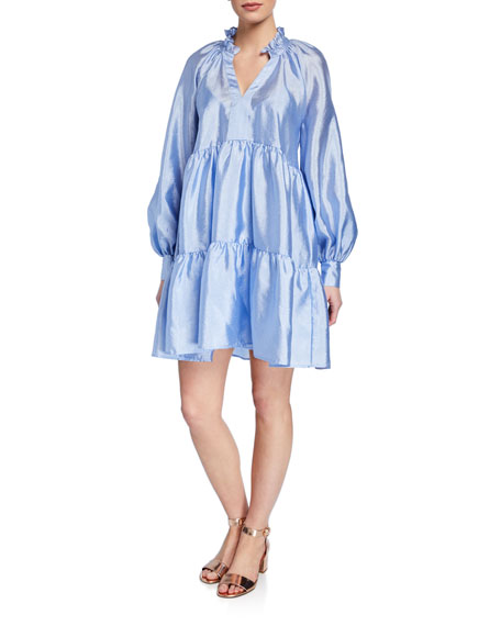 Jasmine Tiered Long-Sleeve Shift Dress