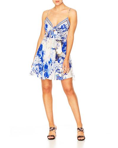 Printed Tie-Front Sleeveless Mini Dress