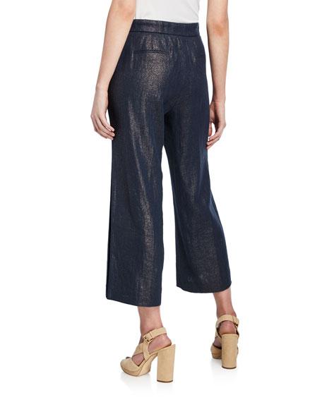 Eloisa Wide-Leg Metallic Cropped Pants