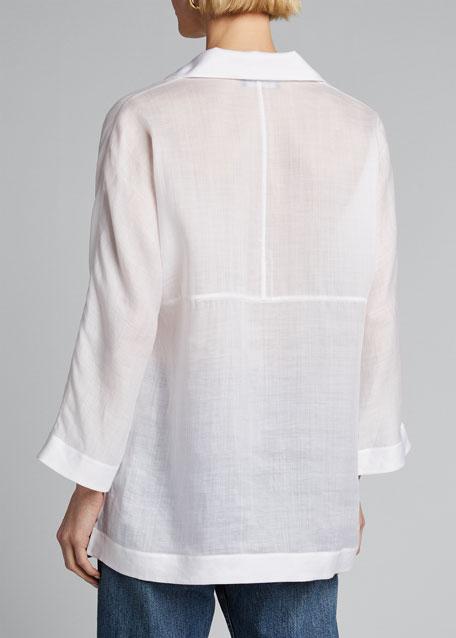 Jane Notched Collar 3/4-Sleeve Gemma Cloth Blouse