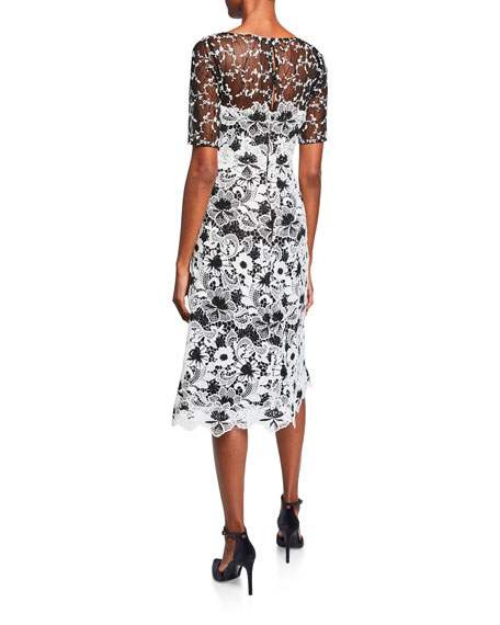 Bateau-Neck Elbow-Sleeve Floral Lace Dress w/ Twin Lace Yoke