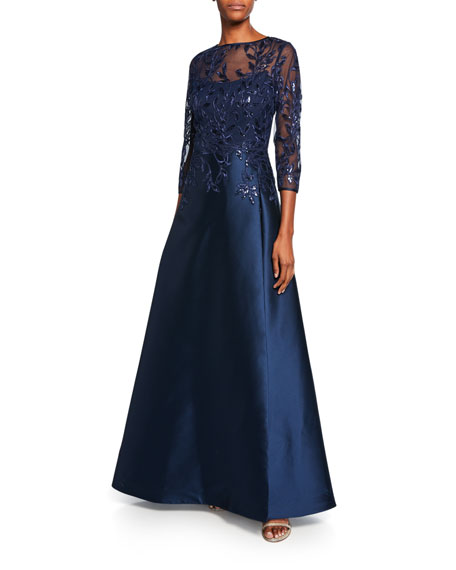 High-Neck 3/4-Sleeve Gazar Gown with Sequin Embellished Bodice