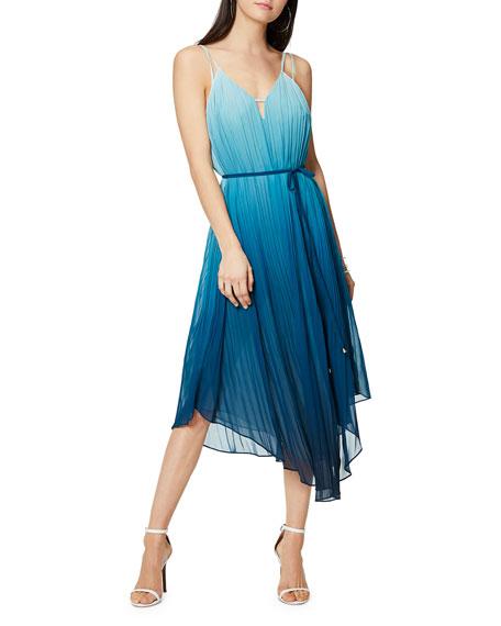 Viola Ombre Pleated Spaghetti-Strap Dress