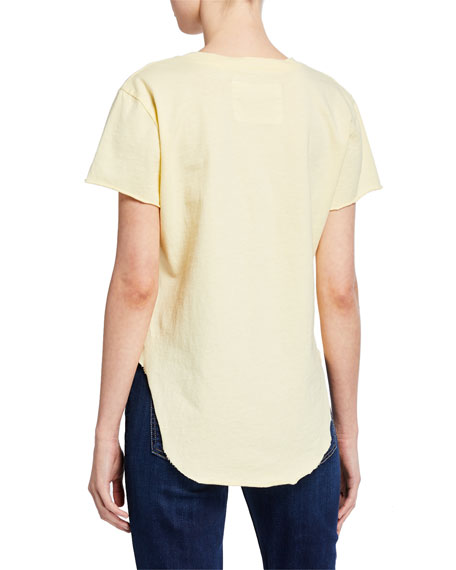 Crewneck Short-Sleeve High-Low Vintage Tee, Yellow
