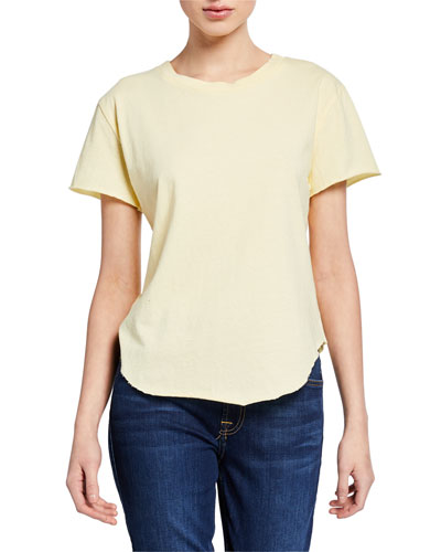 Crewneck Short-Sleeve High-Low Vintage Tee  Yellow