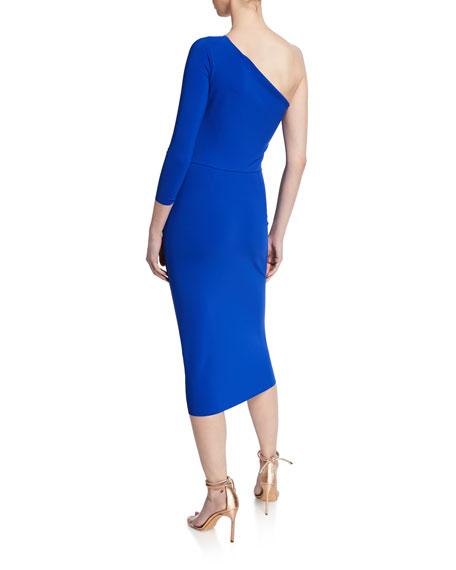 One-Shoulder Asymmetric-Ruffle Cocktail Dress
