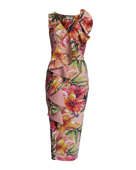Floral-Print V-Neck Sleeveless Asymmetric Ruffle Dress