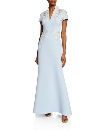 Embroidered Scuba Stand-Collar Gown