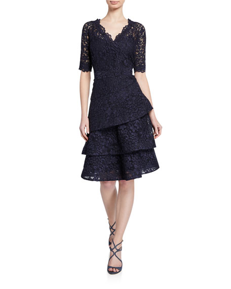 Image 1 of 1: Elbow-Sleeve Tiered Lace Dress
