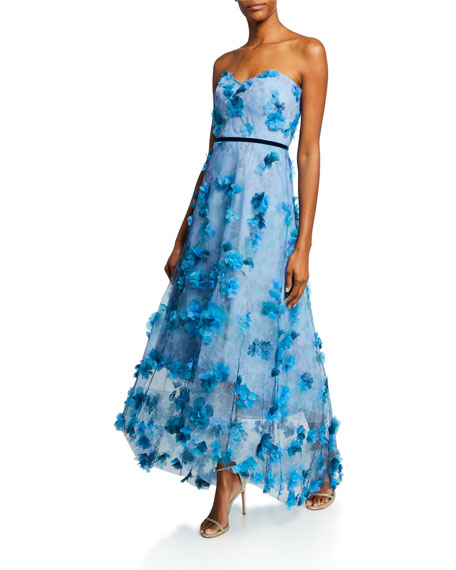Image 1 of 1: Printed Strapless High-Low Gown with 3D Flower Degrade