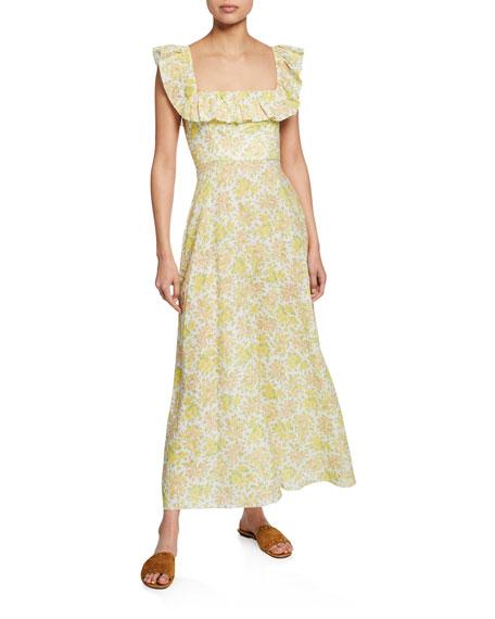 Citrus Floral Goldie Ruffle-Neck Long Dress