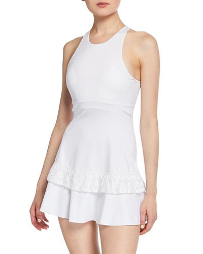 textured lace racerback tennis dress