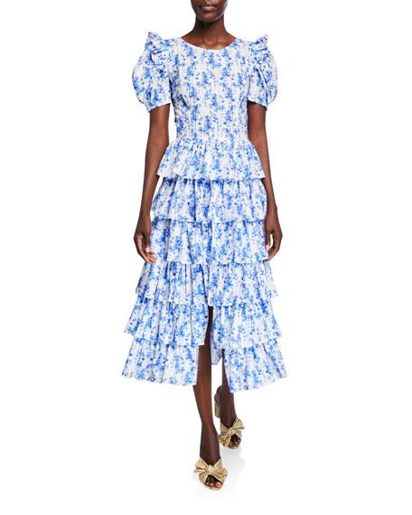 Rose Tiered Floral-Print Cotton Midi Dress