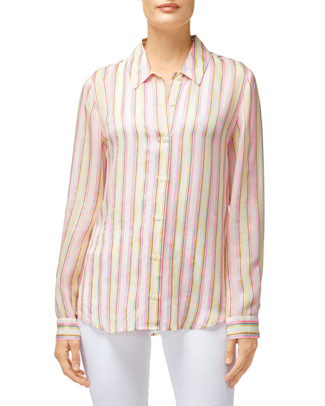 Elena Striped Long-Sleeve Button-Back Shirt