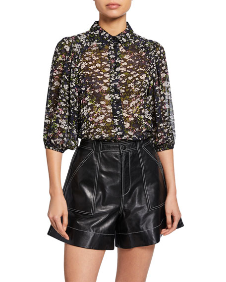 Printed Georgette Button-Front Top