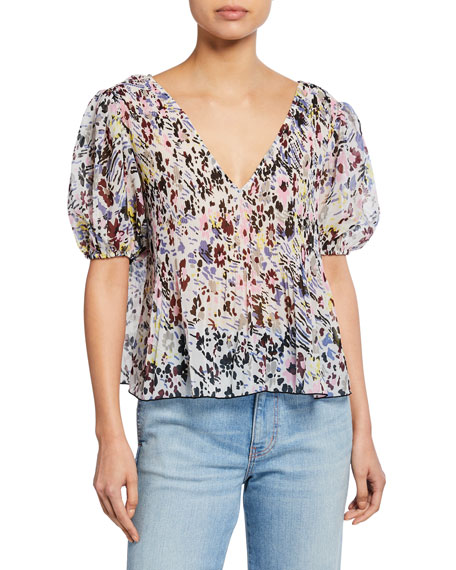 Image 1 of 1: Printed V-Neck Short-Sleeve Pleated Georgette Top