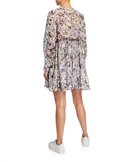 Printed Long-Sleeve Pleated Georgette Mini Dress