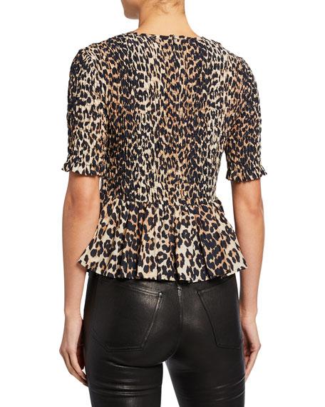 Leopard-Print Smocked Short-Sleeve Peplum Top