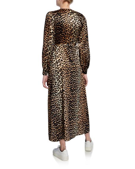 Leopard-Print Surplice Long-Sleeve Stretch-Silk Satin Dress