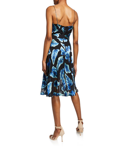Heather Leaf-Print Sleeveless Mock-Wrap Dress