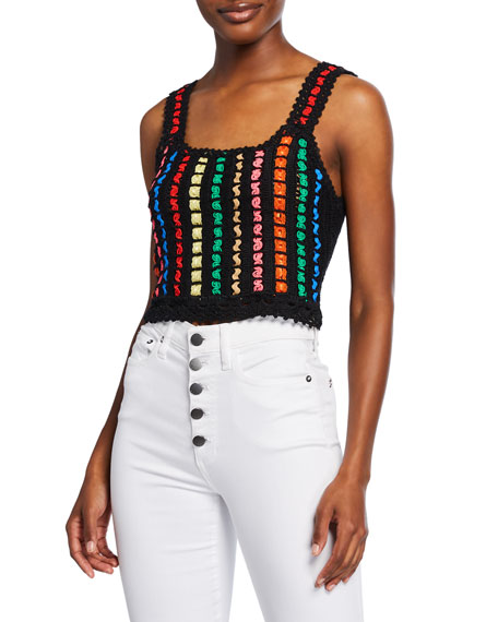 Image 1 of 1: Lorri Cropped Crochet Tank Top with Ribbon Detail