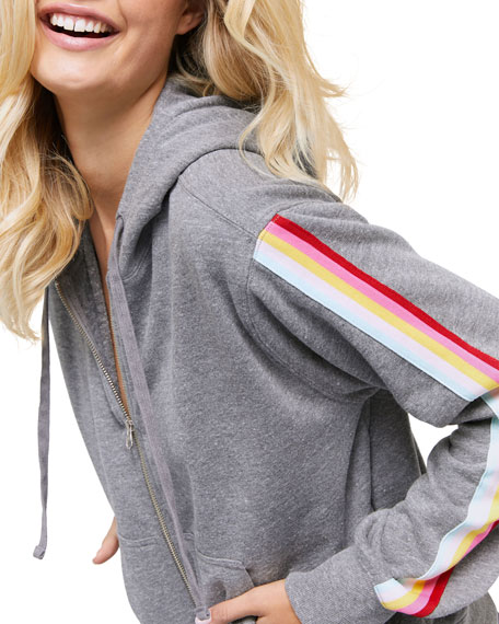 All We Need Riley Zip-Front Side-Stripe Hoodie Jacket