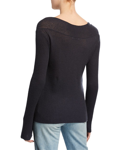 V-Neck Ribbed Long-Sleeve Wool-Cashmere Top