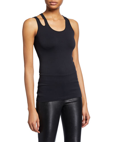 Scoop-Neck Slashed Seamless Tank Top