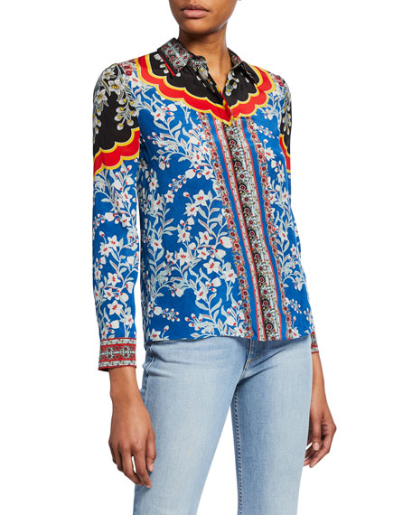 Willa Floral-Print Button-Down Long-Sleeve Silk Shirt