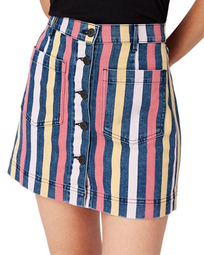 Rose Striped Denim Skirt