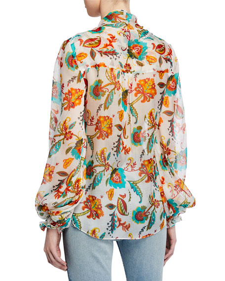 Bette Printed Twist-Front Blouson-Sleeve Silk Blouse