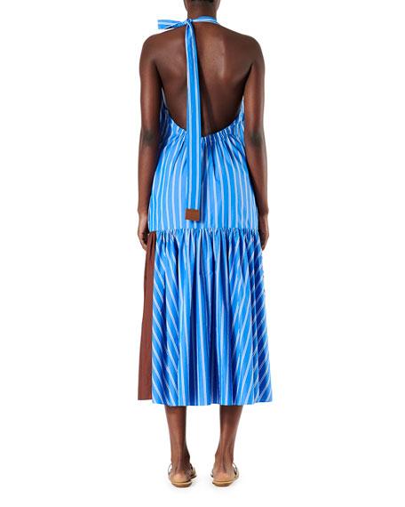 Vivian Stripe Deep V Halter Dress