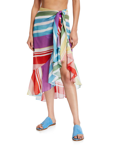 Striped Pareo Coverup Skirt
