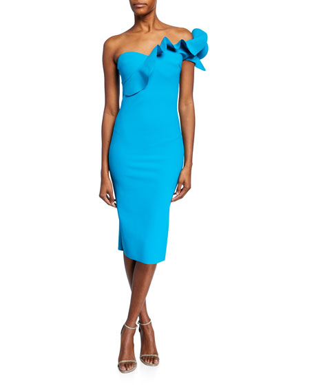 Adrina One-Shoulder Cocktail Dress w/ Ruffle Detail