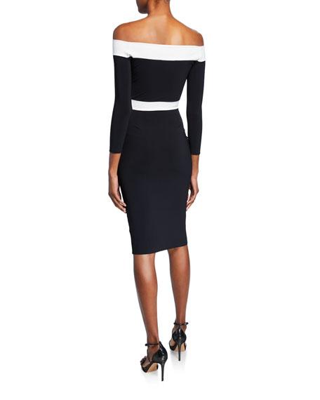 Larissa Bicolor Off-the-Shoulder 3/4-Sleeve Cocktail Dress