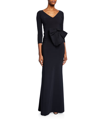 Barbra Lee V-Neck 3/4-Sleeve Gown with Side Bow Detail