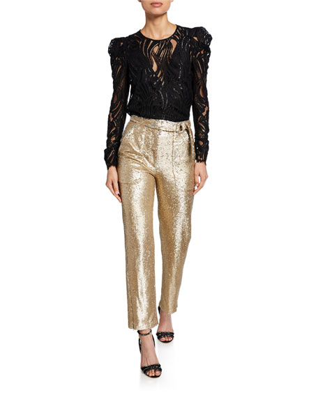 Belted Sequined Straight-Leg Pants