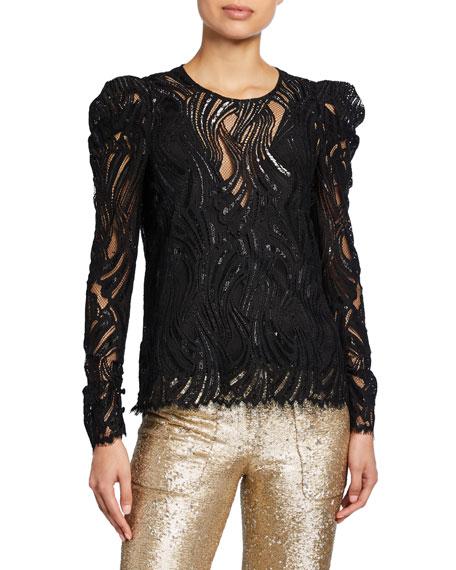 Metallic Lace Puff-Sleeve Top