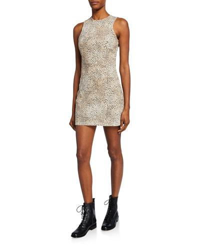 Sleeveless Cheetah-Print Mini Sheath Dress