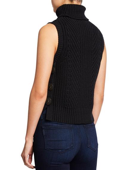 Sleeveless Chunky Turtleneck Sweater w/ Buttons