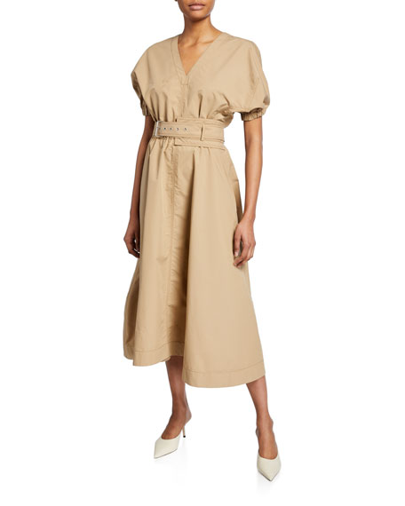 Puff-Sleeve Belted Dress