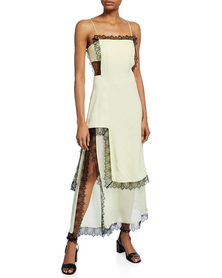 Square-Neck Sleeveless Slit Dress with Lace & Cutouts