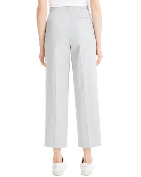 High-Waist Straight-Leg Stretch-Cotton Ankle Pants