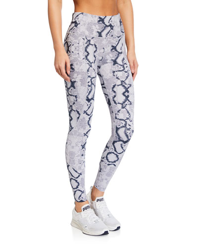 Bedford Snakeskin-Print Tight Leggings