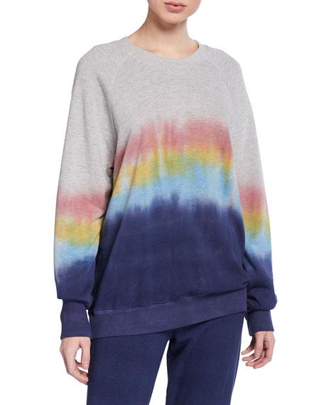 Ombre Tie-Dye Crewneck Raglan-Sleeve Sweatshirt